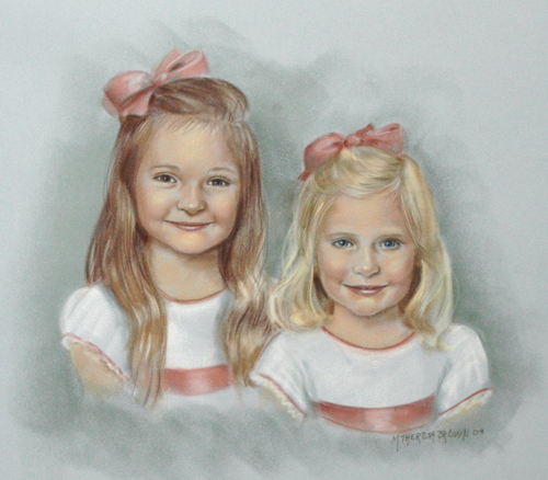 Pastel Portrait of Girls