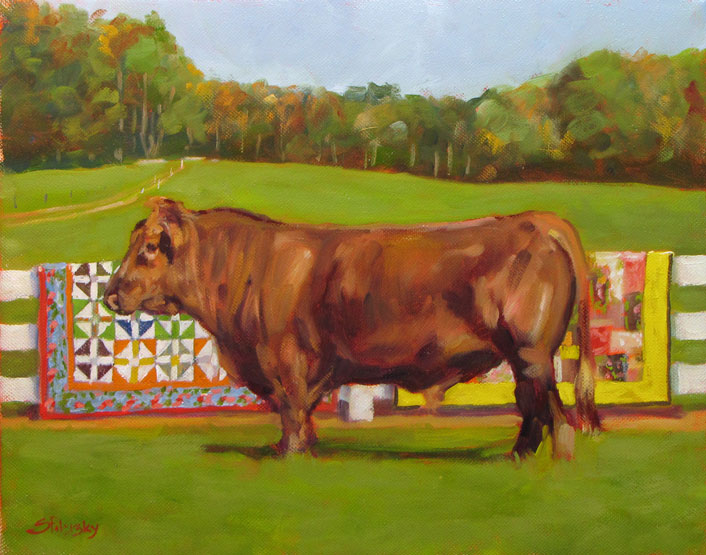 Oil Portrait of Bull with Quilts