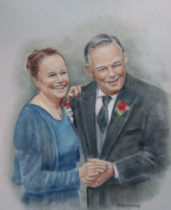 Pastel Portrait of Dancing Couple