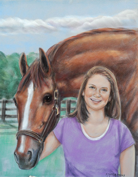 Girl and Horse Pastel Portrait