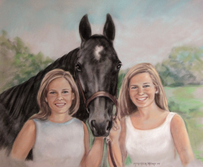 Pastel Portrait of 2 Women and Horse