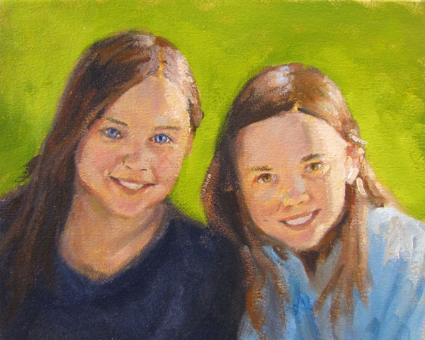 oil portrait sisters