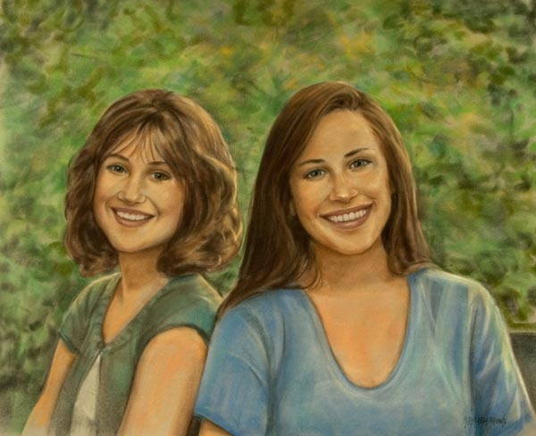 Pastel Portrait of Sisters
