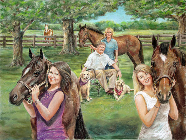 Pastel portrait horse and family
