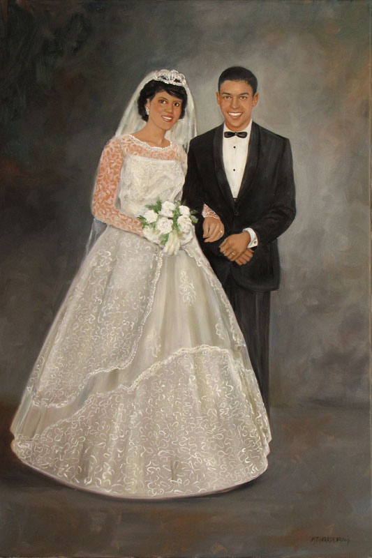 wedding portrait oil