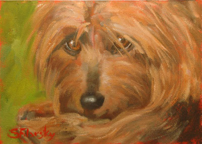 Oil portait of dog