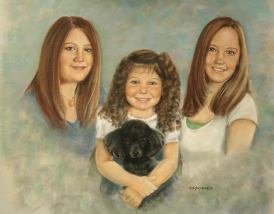 Pastel Portrait Family Three Girls and Dog
