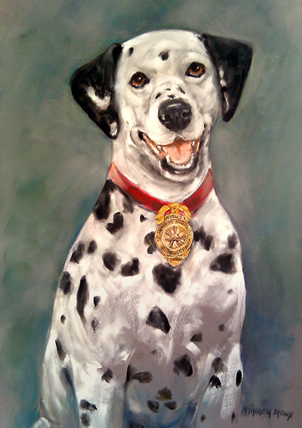 pastel portrait angus fire dog