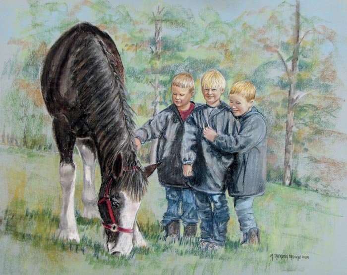 Pastel Portrait of 3 Boys and Clydesdale Horse