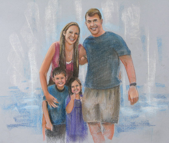 pastel portrait, family in fountain