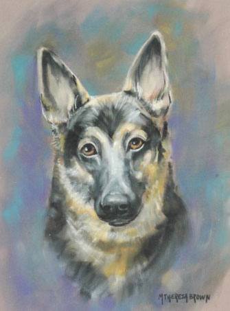Pastel Portrait of German Shepard