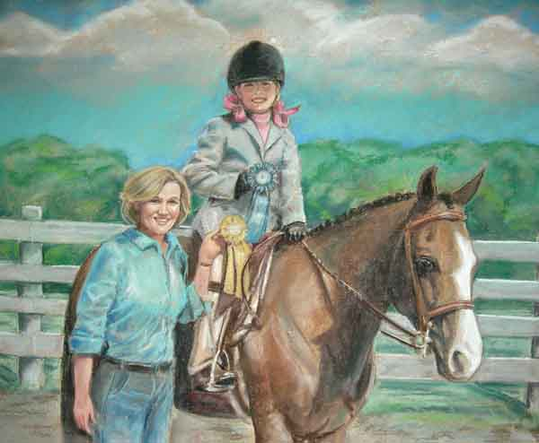 Horse Pastel Portrait Girl Horse and Mom