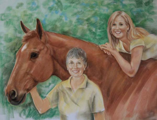 Pastel Portrait women and horse