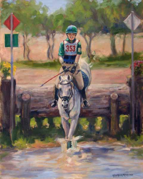 Eventing Horse Trials, North American young rider, oil painting