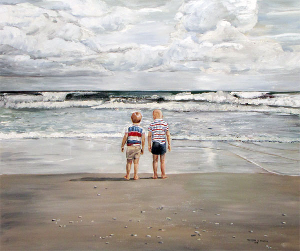 Two Boys on Beach Oil Painting