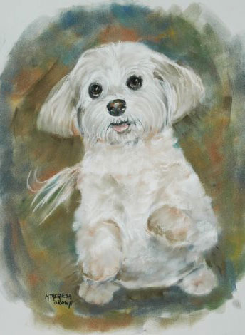Pastel Portrait of Sitting Terrier