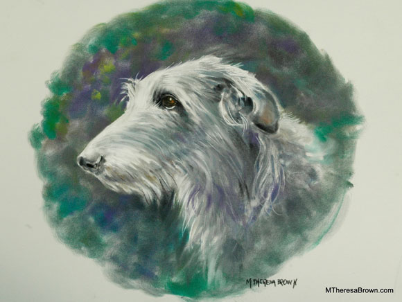 Pastel Portrait of Irish Wolfhound