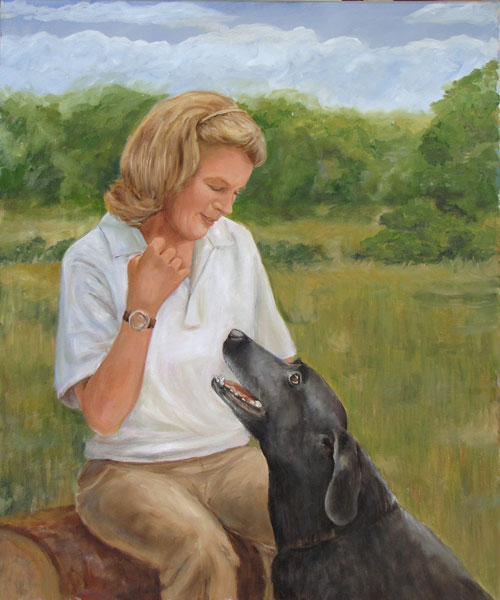 Oil Portrait Woman and Labrador Retriever