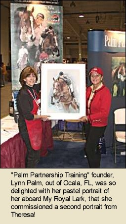 Theresa and Lynn Palm with Portrait of Lynn and her Horse